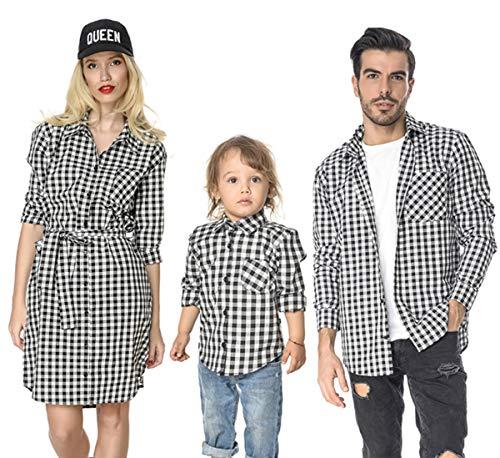 (Family Matching Plaid Shirt (Black, Mom/S))