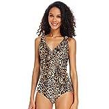 Dixperfect Women's Vintage One Piece Swimwaer Ruffle Neckline Shirring Monokini Bathing Suit (L, Leopard)