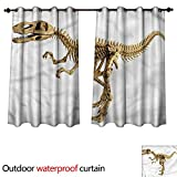 cobeDecor Dinosaur Outdoor Curtain for Patio Fossil Dino Skeleton W108 x L72(274cm x 183cm)