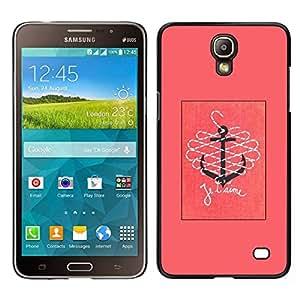 EJOY---Cubierta de la caja de protección para la piel dura ** Samsung Galaxy Mega 2 ** --T'Aime te amo Pink Anchor Text