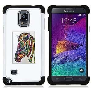 """Hypernova Híbrido Heavy Duty armadura cubierta silicona prueba golpes Funda caso resistente Para Samsung Galaxy Note 4 IV / SM-N910 [Cebra Arte de la acuarela de dibujo""""]"""