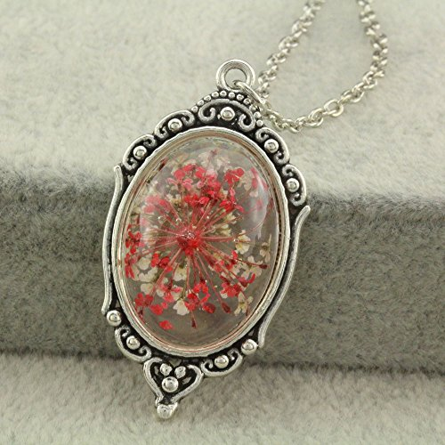 Fm42 Vintage Style Red Dried Flowers Encased In Simulated Resin Oval Pendant Necklace Fn2037