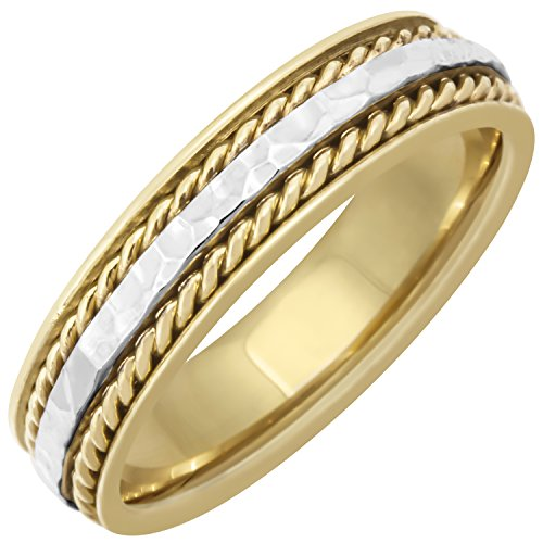 18K Two Tone Gold Braided Rope Edge Men's Hammered Finish Comfort Fit Wedding Band (5mm) - Braided Mens Edge