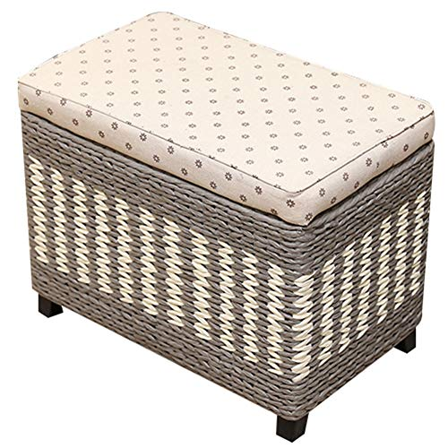 CAIJUN Footstool Storage Weaving Solid Wood Frame Multifunction Indoor Portable Festival Gift, 3 Colors, 5 Sizes (Color : Gray, Size : 70x30x40cm)