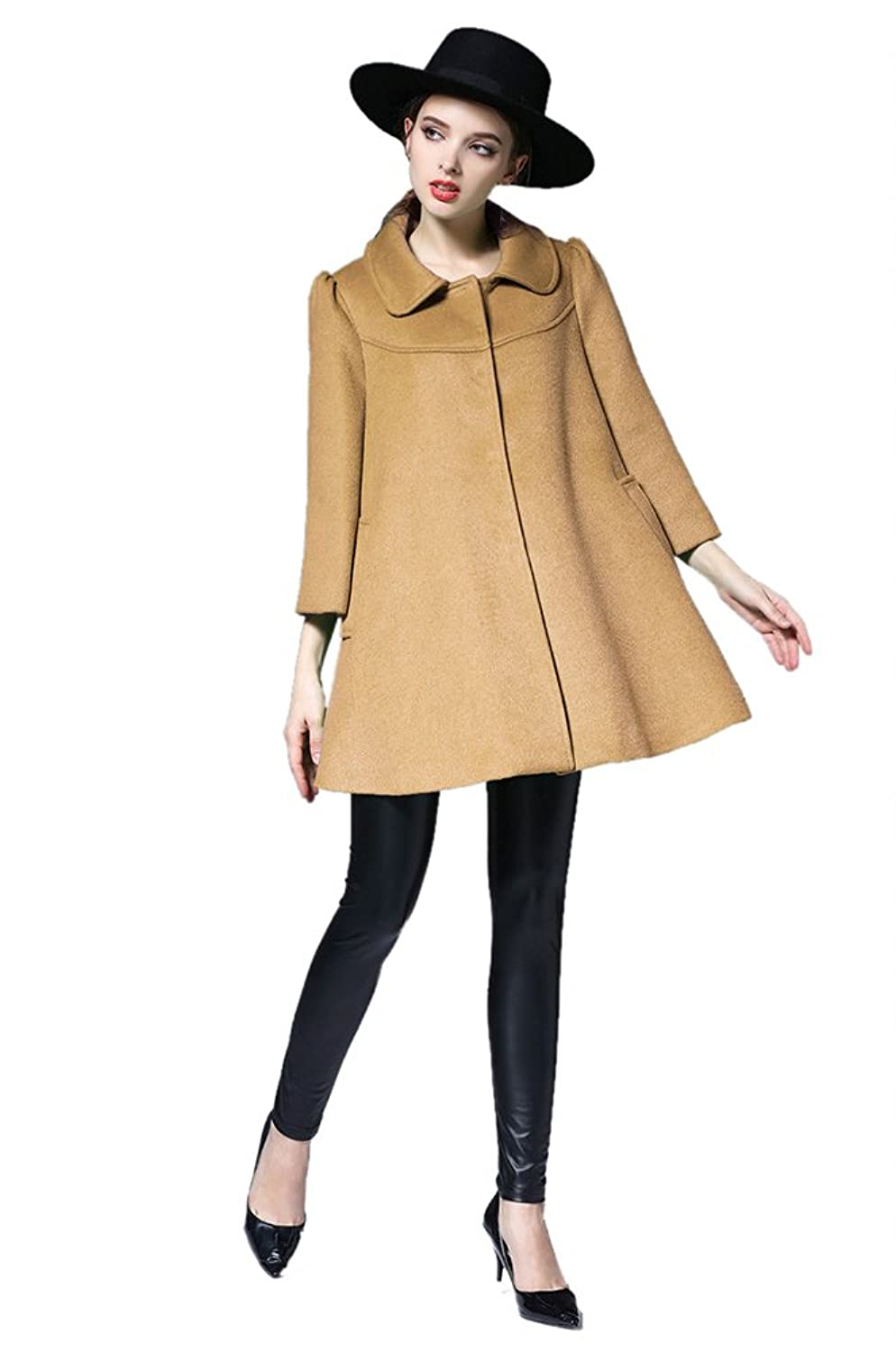 Oncefirst Women's Solid Color Oversized Wool Trench Coat Cloak