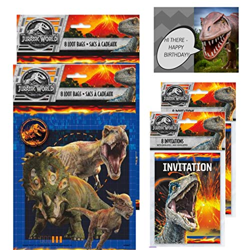 Jurassic World Favor Bags and Invitation Cards Value Pack of 16 each, Bundled with 1 Dinosaur Birthday Card (32 Pieces Total with 1 Card)