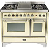 40 - 5 Burner Dual Fuel Range + Griddle with Convection Oven Finish: Antique White