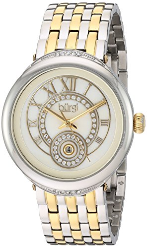 Burgi Women's White Mother-of-Pearl Dial with Swarovski Crystal Accented Bezel and Two-Tone Stainless Steel Bracelet Watch BUR164TTG