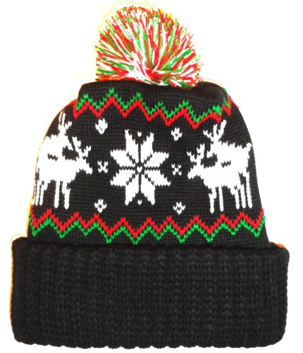 Black Humping Sex Reindeer Snowflake Winter Beanie Pom Hat Cap