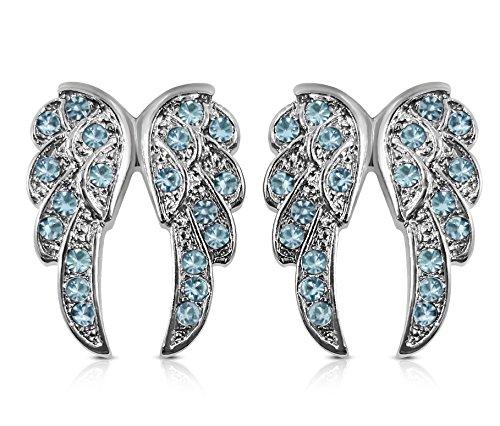 Small Crystal Guardian Angel Wings Silver Tone Stud Earrings Fashion Jewelry Gift (Sky Blue)