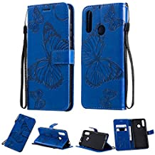 Amocase Wallet Leather Case with 2 in 1 Stylus for Huawei Mate 30,Premium Strap 3D Butterfly Magnetic PU Leather Stand Shockproof Card Slot Case for Huawei Mate 30 - Blue