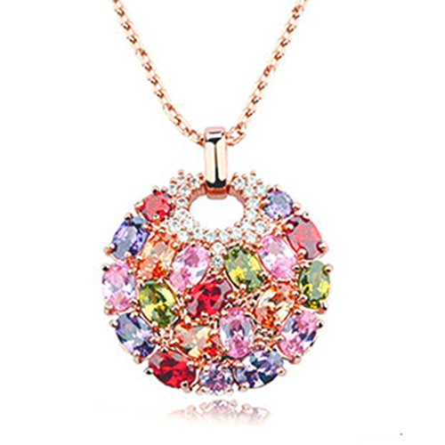 FindOut plaqué or rose Multicolore cercle de cristal pendentif .pour femmes filles (de f1655)