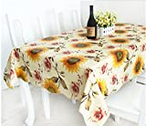 XM Home Fashion-Pastoral Style,PVC Sunflower Pattern Beige and Yellow Waterproof Tablecloths/Table Cloth 1 Piece 42*60 inch