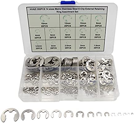 Made in The USA! Stainless Steel Metric External E-Ring Kit