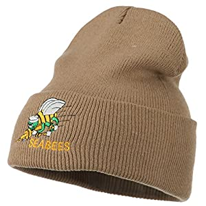 Navy Seabees Symbol Embroidered Cuff Long Beanie - Khaki