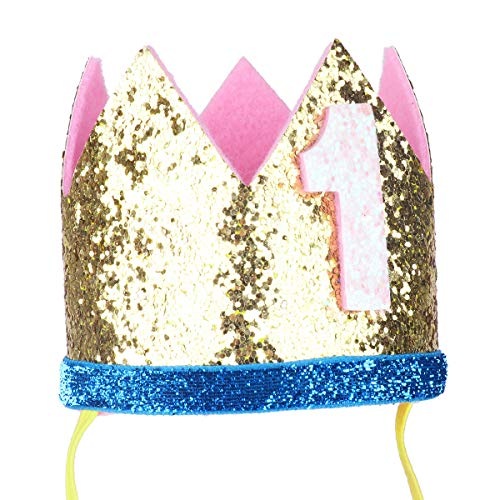 iiniim Baby Girls Boys First /1st Birthday Party Hat Little Prince Crown Headband Head wear Accessories Gold Number 1 One Size by iiniim (Image #4)