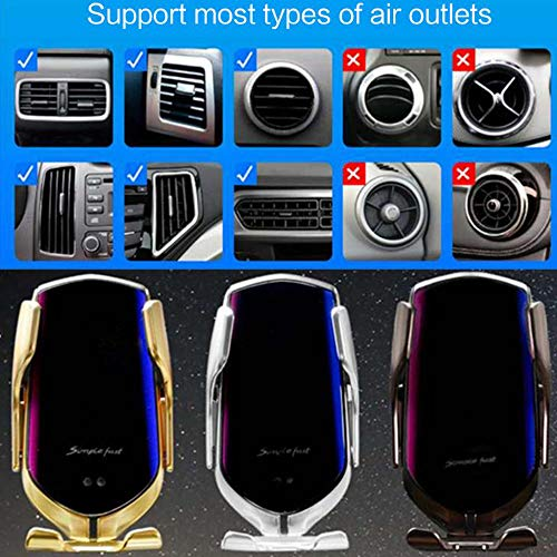 Bcamelys Wireless Car Charger, 2 in 1 Qi 10W Fast Wireless Infrared Auto-Clamping Charge Car Air Vent Mount Phone Holder for Phone 11/11 Pro/11 Pro Max/XR/XS Max/X/8/8+ Galaxy Note 10/S10/Note 9/S9