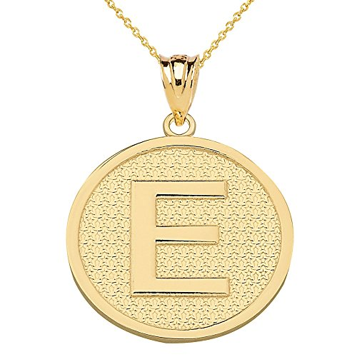 Solid 14k Yellow Gold Initial Letter E Pendant Necklace, 22