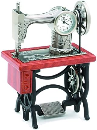 Sanis Enterprises Old Fashion Sewing Machine Clock with Wood Look Table, 2.75 by 4-Inch
