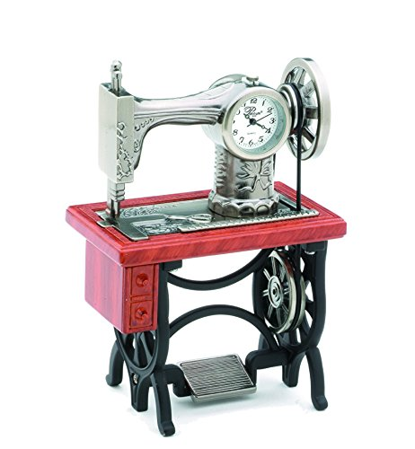 Sanis Enterprises Old Fashion Sewing Machine Clock with Wood Look Table, 2.75 by (Old Fashion Clock)