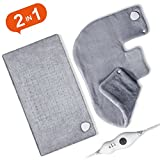 Heating Pad Set, 2pcs, Ultra Soft 18'' x 25'' Shoulder Heating Pad and 12'' x 24'' Fast Heating Pad for Neck and Shoulder, Back, Abdomen, Waist, Dry/Moist Heating Pad with Auto Shut Off