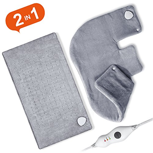 Heating Pad Set, 2pcs, Ultra Soft 18'' x 25'' Shoulder Heating Pad and 12'' x 24'' Fast Heating Pad for Neck and Shoulder, Back, Abdomen, Waist, Dry/Moist Heating Pad with Auto Shut Off by FIGERM
