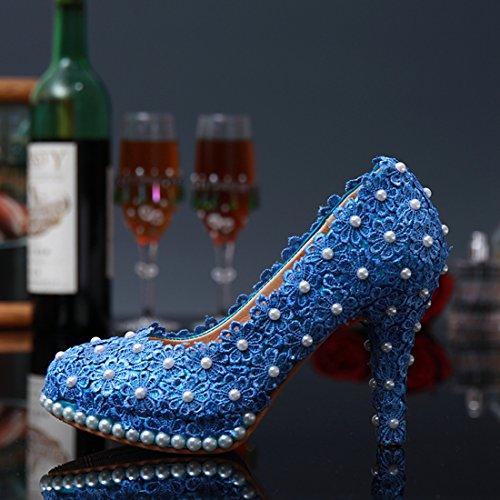 Miyoopark , Semelle compensée femme - Bleu - Blue-10cm Heel, 35 EU
