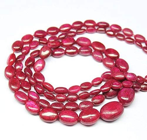 Beads Bazar Natural Beautiful jewellery Natural Red Ruby Smooth Oval Gemstone Loose Craft Beads Strand 8