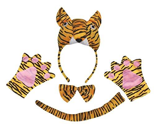 Petitebella 3D Tiger Headband Bowtie Tail Gloves Children 4pc Costume (One Size) -