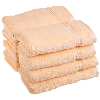 Superior Egyptian Cotton 8-Piece Hand Towel Set, Peach