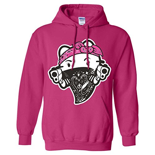 Hello Kitty Gangster Thug Sweatshirt Hoodie - Heliconia 3X-Large (Hello Kitty Gangster)
