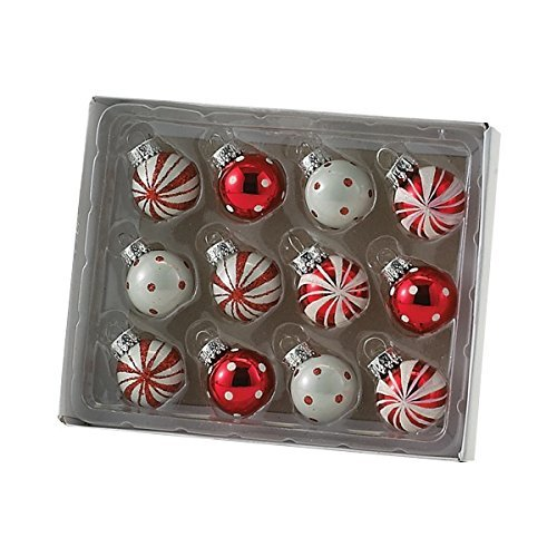 Kurt Adler Polka Dot And Peppermint Stripe Ball Ornament