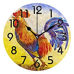 Naanle Beautiful Rural Crowing Cock Rooster Print Round Wall Clock Decorative, 9.5 Inch Battery Operated Quartz Analog Quiet Desk Clock for Home,Office,School