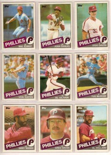 Topps Baseball Traded 1990 (Philadelphia Phillies 1985 Topps Baseball Master Team Set with year-end Traded Cards (Mike Schmidt) (Steve Carlton) (Von Hayes) (Al Oliver) (Juan Samuel) (Tug McGraw))