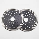 DIATOOL 2pcs 4-1/2 Inch Diamond Hot Pressed with multi holes Diamond Turbo Blade Wet/Dry Cutting Granite Marble Concrete Masonry Block Diamond Saw Blade Diamond Wheel Chip-free Diamond Cutting Disc