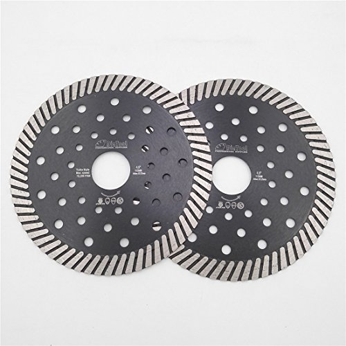 DIATOOL 2pcs 4-1/2 Inch Diamond Hot Pressed with multi holes Diamond Turbo Blade Wet/Dry Cutting Granite Marble Concrete Masonry Block Diamond Saw Blade Diamond Wheel Chip-free Diamond Cutting Disc by DIATOOL