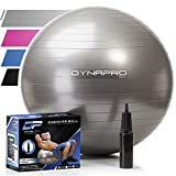 Exercise Ball with Pump- Gym Quality, Anti-Burst, Anti-Slip (Silver, 55 centimeters) Fitness Ball by DynaPro Direct. More colors and sizes available aka Yoga Ball, Swiss Ball