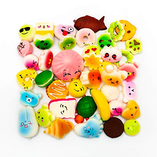 M-Gigi Random Squishy Cream Scented Slow Rising Kawaii Simulation Bread Children Toy, Soft Squishy Cake/Panda/Bread/Buns Phone Straps, Jumbo/Medium/Mini, 20 Piece