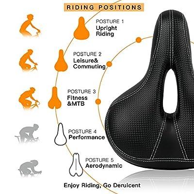 Deruicent Bike Seat, Thicken Bike Saddle Soft Comfortable MTB Mountain Road Sponge Bicycle Saddle Cushion Imitation Leather Cycling Seat Mat