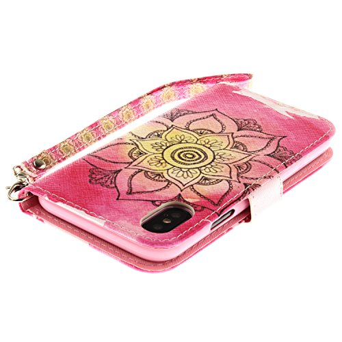 Coque iPhone X Fleur jaune Portefeuille Fermoir Magnétique Supporter Flip Téléphone Protection Housse Case Étui Pour Apple iPhone X / iPhone 10 (2017) 5.8 Pouce + Deux cadeau