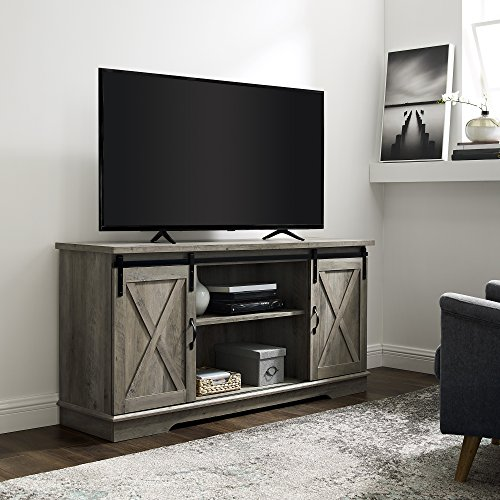 WE Furniture AZ58SBDGW TV Stand 58quot Grey Wash