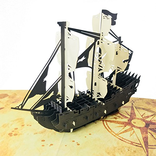 Pirate Ship - WOW 3D Pop Up Greeting Card for All Occasions - Love, Birthday, Anniversary, Wedding, Loved Ones, Congratulations, Get Well, Father's Day