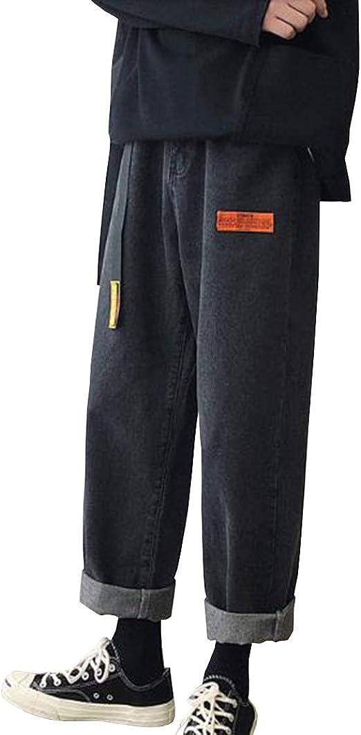 Feellway メンズ ワイドパンツ ジーンズ ストレートパンツ 春秋 デニムパンツ 9分丈 ボトムス C0196