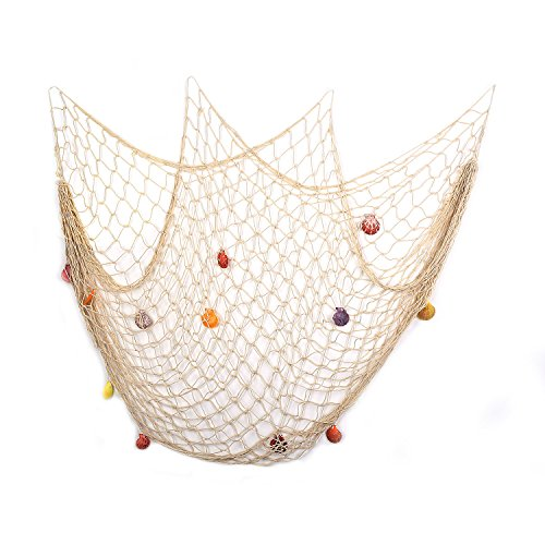 Decorative Fish Net White Yagote Mediterranean Style Nautical Decorative Fishing Net with Shells for Home Party Room Decoration 1.5 X 2meter White