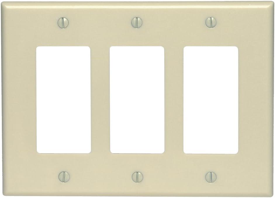 Leviton 80611-I 3-Gang Decora/GFCI Device Wallplate, Ivory