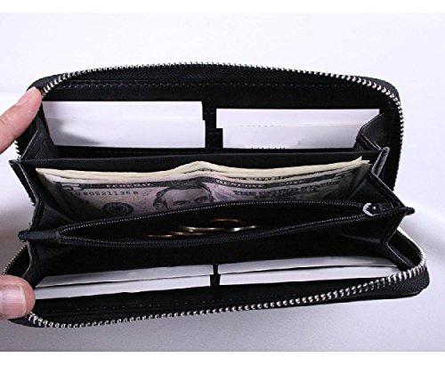 Cartera monedero Lifeyz para mujeres de cuero tejido, con cremallera alrededor, y con bolsillo para organizar monedas, rosa negro