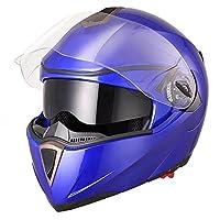 Yescom Full Face Flip up Modular Motorcycle Helmet DOT Approved Dual Visor Motocross Blue M from Yescom