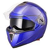 Yescom Full Face Flip up Modular Motorcycle Helmet DOT Approved Dual Visor Motocross Blue XL