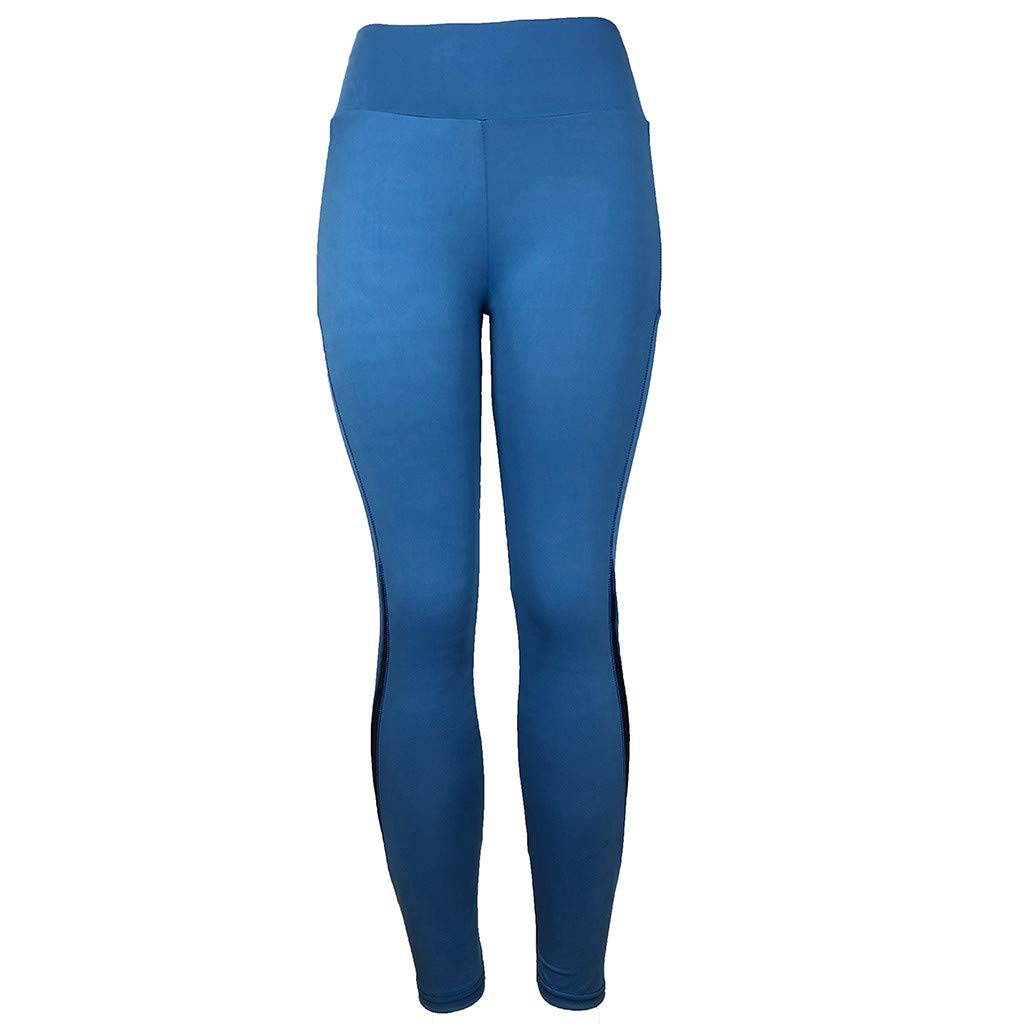 ✅Zalanala Women's Tummy Control High Waist Leggings with Pockets Running Yoga Athletic Pants (S, Blue)