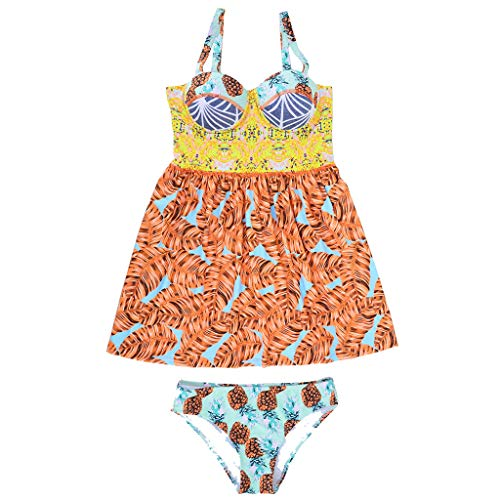 QBQCBB Women's Print Swimwear One-Piece Bikini Stylish Swimdress Push Up Swimsuit (Yellow,M) ()